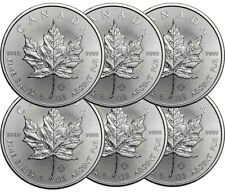 Lot de 6 pieces en argent Maple Leaf 1 once 1 oz silver