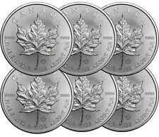Lot de 6 pieces en argent Maple Leaf 1 once 1 oz silver
