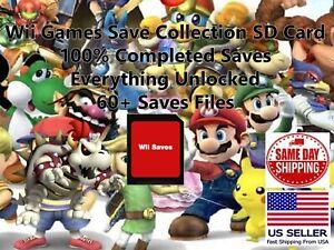 Nintendo Wii SD Memory Card 60+ Save Files Super Smash Brawl (Not Games)