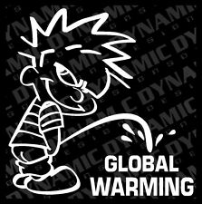 "Large 6"" Calvin pee piss on Global Warming sticker funny JDM vinyl window decal"