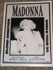 Madonna Blond Ambition World Tour Concert Poster Los Angeles May 1990