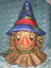 VINTAGE Ceramic Bisque Hand Painted Scarecrow Head Light up SCIOTO 1995 Lamp