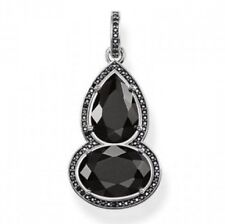 New Genuine Thomas Sabo Sterling Silver Onyx & Black CZ Drop Pendant PE697 £179