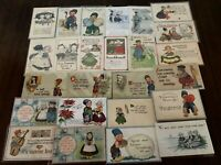 Big Lot of  29 Dutch Kids~CHILDREN~Antique Postcards~Comic~greetings-b377
