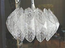 Mid Century 70's Folded Clear Textured Acrylic Prisms and Glass Chandelier NICE!