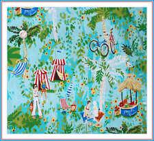 BonEful Fabric FQ Cotton Blue Red Tropical Island Beach Boy Palm Tree Surf Bike