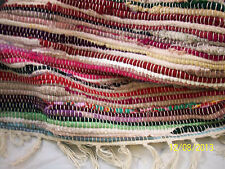 Hand Woven Chindi Rug 42 in. X 63 in. Beautiful Colors! Wide Rows with Tassels