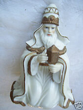 "One Of 3 Wise Men Kneeling W/ Gift 6 3/4"" Tall Nativity Gold Trim Figurine"