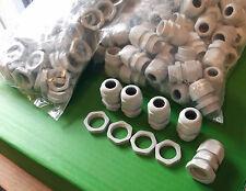 Presse-étoupe PG16 IP68 Nylon Gris entrée de câble 7 mm à 12 mm + contre-écrou x 5 sets