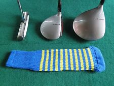 Knitted zebra style Fairway & Driver Golf Club head cover Blue / Yellow