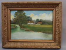 Charming1900s Landscape with House River European Art Painting (3909)