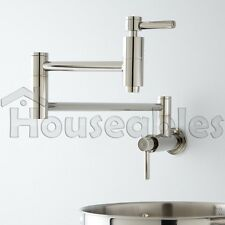 "21"" Modern Retractable Double Joint Spout Wall Mount Pot Filler Polished Chrome"