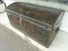 Victorian Antique Leather Covered Pine Box / Chest / Trunk