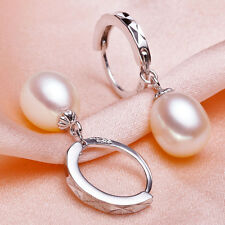 NATURE  9-10MM SOUTH SEA WHITE PEARL SILVER EARRING