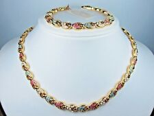 with Pastel Swarovski Crystals - 1360 D'Orlan Gold Plated Necklace and Bracelet