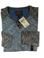 Lucky Brand Mens S/P Blue Thermal Long Sleeve Henley Shirt Cotton NEW $59.50
