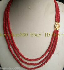 New Natural Charming 2x4mm Red Coral Gemstone Abacus Necklace 3Row 18-20''