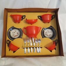 VINTAGE BANNER CHILD'S TEA SET IOB - Tin & Plastic - Never Used