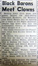 1947 newspaper NEGR0 LEAGUE BASEBALL Birmingham Black Barons INDIANAPOLIS CLOWNS