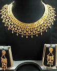 22K Gold Plated South Indian Traditional Wedding Ethnic Bridal Necklace Set a,,