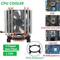 CPU Kühler Prozessor Lüfter 4x Kupferrohre für Intel 775 1150 1155 1366 AMD   *