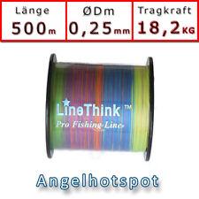 Angelschnur Multicolor Rundgeflochten 0,25mm 18,2KG Angelhotspot 0,05€//m 500m