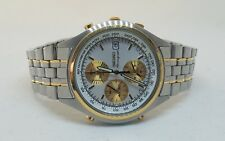 Seiko Two Tone Stainless Steel Chronograph Alarm Men's Watch