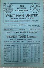 More details for west ham united reserves v ipswich town reserves 1947/48
