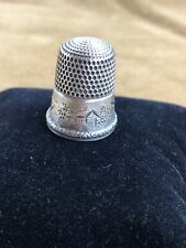Thimble Antique Simons Brothers Sterling Silver Landscape