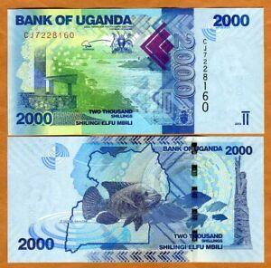 Uganda, 2000 Shillings, 2019, P-50-New, New Signature, UNC > Fish