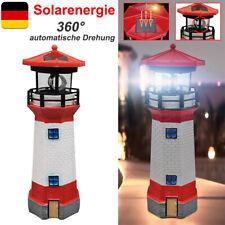 LED Solar Leuchtturm 28cm draussen Garten Leuchtfeuer Rot /Weiß Deko Beleuchtung