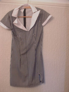 ADULT WOMENS GANGSTERS MOLL FANCY DRESS WITH HAT SIZE MED 8 TO 10