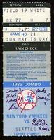 Baseball Ticket New York Yankees 1986 Seattle Mariners 5/18