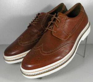 253713 SD50 JOHNSTON MURPHY KNOLL WING TIP BLUCHER MENS SHOES 9 M COGNAC LEATHER