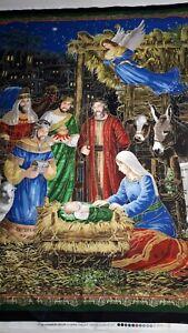New 100% Cotton Fabric Panel Christmas Nativity Scene L 112 cm x W 86 cm