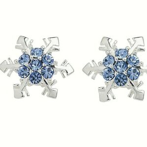 925 Sterling Silver Blue Snowflake Earring Studs Womens Ladies Fashion Accessory