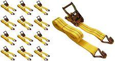 "12 Pc 1.5"" inch x 15' Ft Ratchet Tie Down Cargo Straps J Hooks 12 pack"