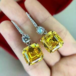 Luxury Canary Citrine & Diamond 4.48 Ct Dangle Earrings in 18k White Gold Over