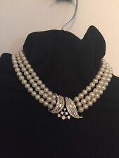 1950's CROWN PHILLIPPE TRIFARI 3 Strand Pearl Rhinestone Pave Baguette Necklace