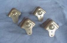 4 Vintage Unused Trunk Corner Trim-Brass Plated Steel-Trunk Hardware-w/ Foot Pad