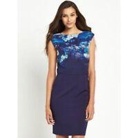 BNWT LITTLE MISTRESS BLUE  FLORAL 2 IN 1 SHIFT DRESS SIZE 10  RRP £63 STUNNING