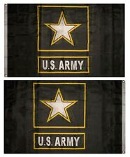 3x5 Black Army Star Double Sided 2ply Sewn Nylon Flag 3'x5'