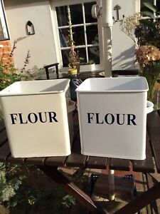 2 Enamel Flour Tins, Cream White With 'Flour' On Side, Containers Only No Lids
