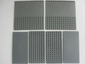 LEGO  LOT  8   OFF  6  MIXED SIZE  GREY  2 X 16 X16 & 4 X 16 X 8  BASE PLATES
