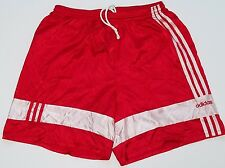 Vintage Adidas Nylon Satin Shorts Made In USA Red & White Soccer Running Shiny L