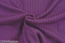 D121 DEEP PURPLE FINE WOOL LIGHT KNITTED RIB SEMI TRANSPARENT MADE IN ITALY