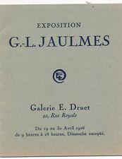 G. L. Jaumes fascicule exposition 1926 galerie Druet liste oeuvres