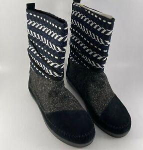TOMS Suede Jacquard Women's Nepal Boots Black Suede/Textile Mix - Size 11
