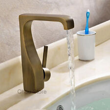 Unique Antique Brass Bathroom Basin Faucet Single Lever Vanity Sink Mixer Tap