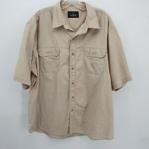 Red Head Men's Short Sleeve Khaki Button Up Bass Fish Embroidered Shirt Size 3XL